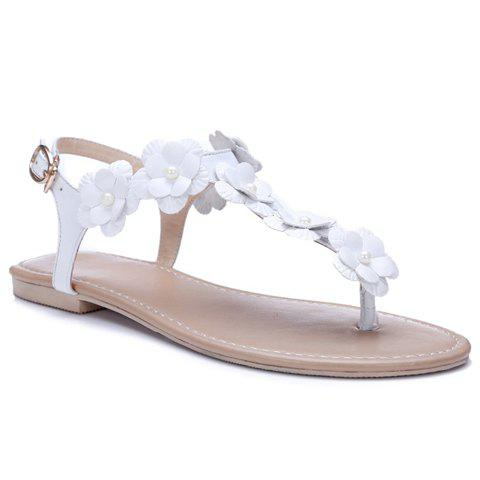 Sweet Flowers and Flat Heel Design Women's Sandals - WHITE 38