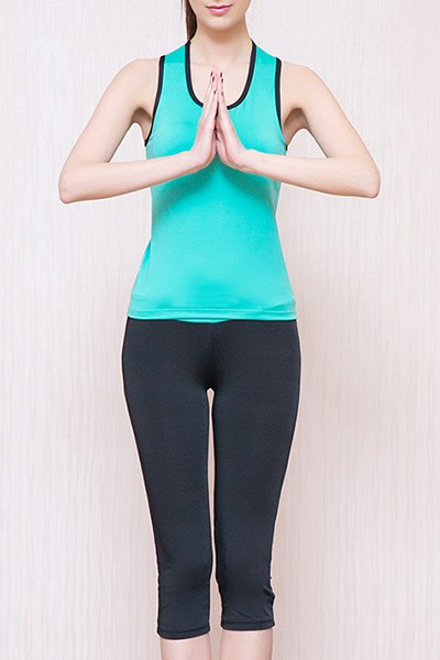 Sporty U Neck Padded Racerback Top and Yoga Pants Suit For Women - LAKE BLUE M