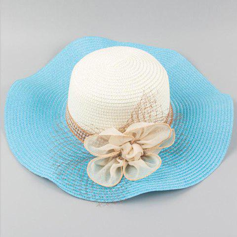 Chic Flower Shape and Mesh Embellished Wavy Edge Women's Straw Hat - AZURE