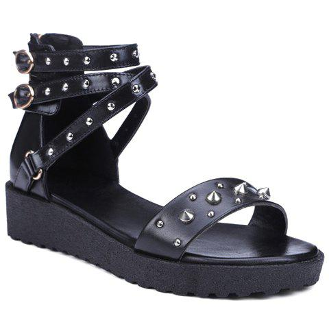 Casual Rivets and Black Design Women's Sandals - BLACK 37
