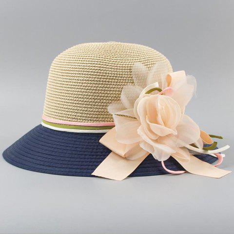 Chic Flower and Ribbon Embellished Color Block Women's Straw Hat - CADETBLUE