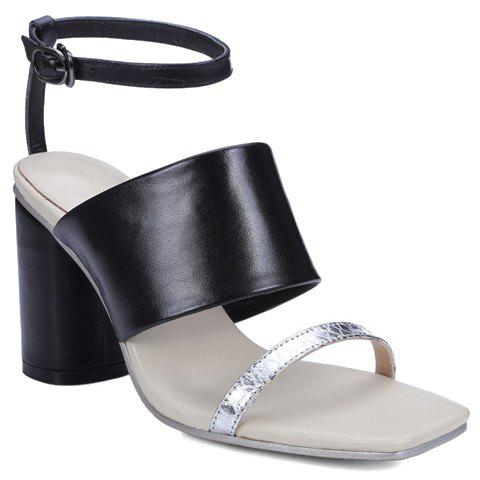 Trendy Chunky Heel and Ankle Strap Design Women's Sandals - BLACK 38