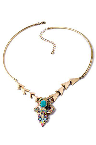 Vintage Alloy Triangle Pendant Necklace For Women - GOLDEN
