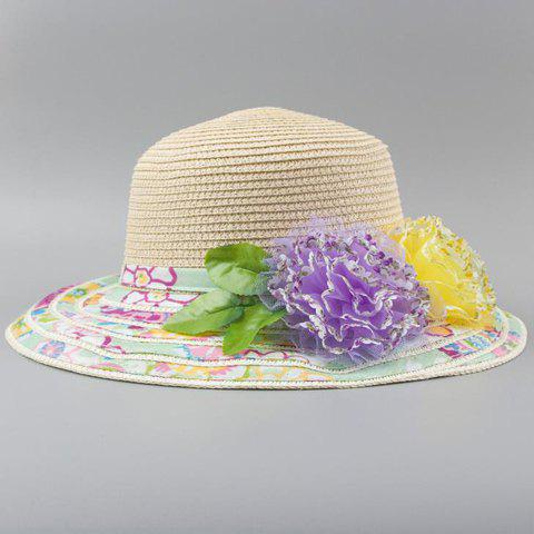 Chic Two Lace Flowers Embellished Floral Brim Women's Straw Hat - BEIGE