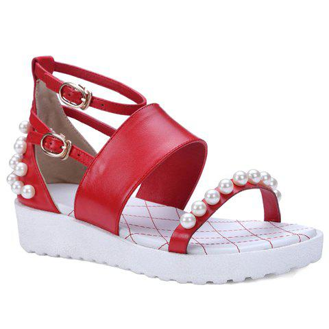 Leisure Beading and Ankle Strap Design Women's Sandals - RED 37