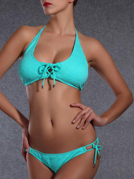 Stylish Women's Halter Argyle Bikini Set - MARINE GREEN XL