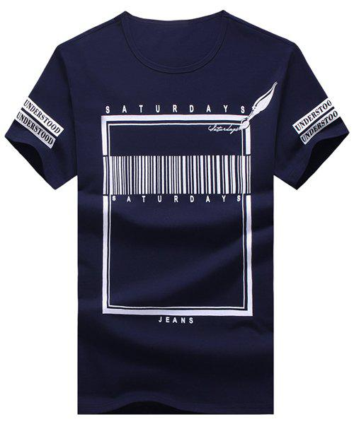 Letters and Geometric Printed Round Neck Short Sleeve Men's T-Shirt - CADETBLUE M