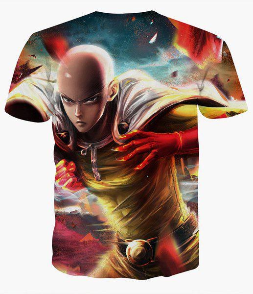 Fashion Pullover Round Collar Man Printed T-Shirt For Men - COLORMIX XL