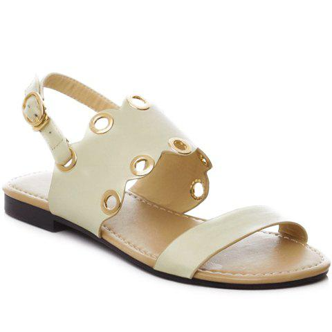 Stylish Eyelet and Solid Color Design Women's Sandals - OFF WHITE 36