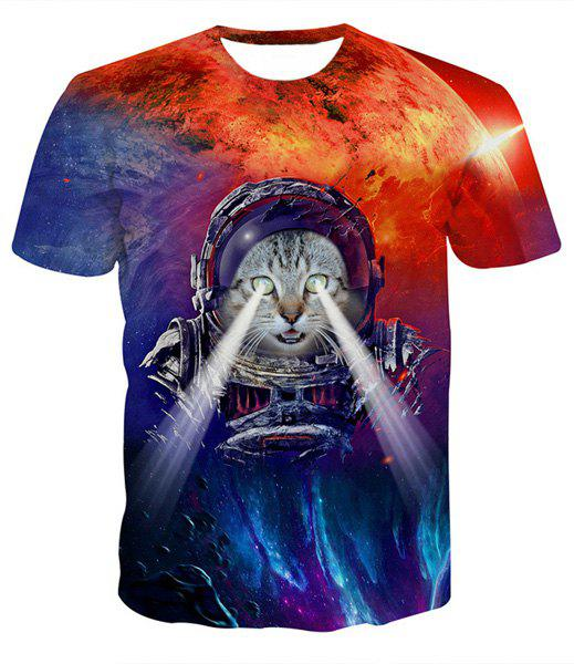 Fashion Round Collar Pullover 3D Cat Printed T-Shirt For Men - COLORMIX XL