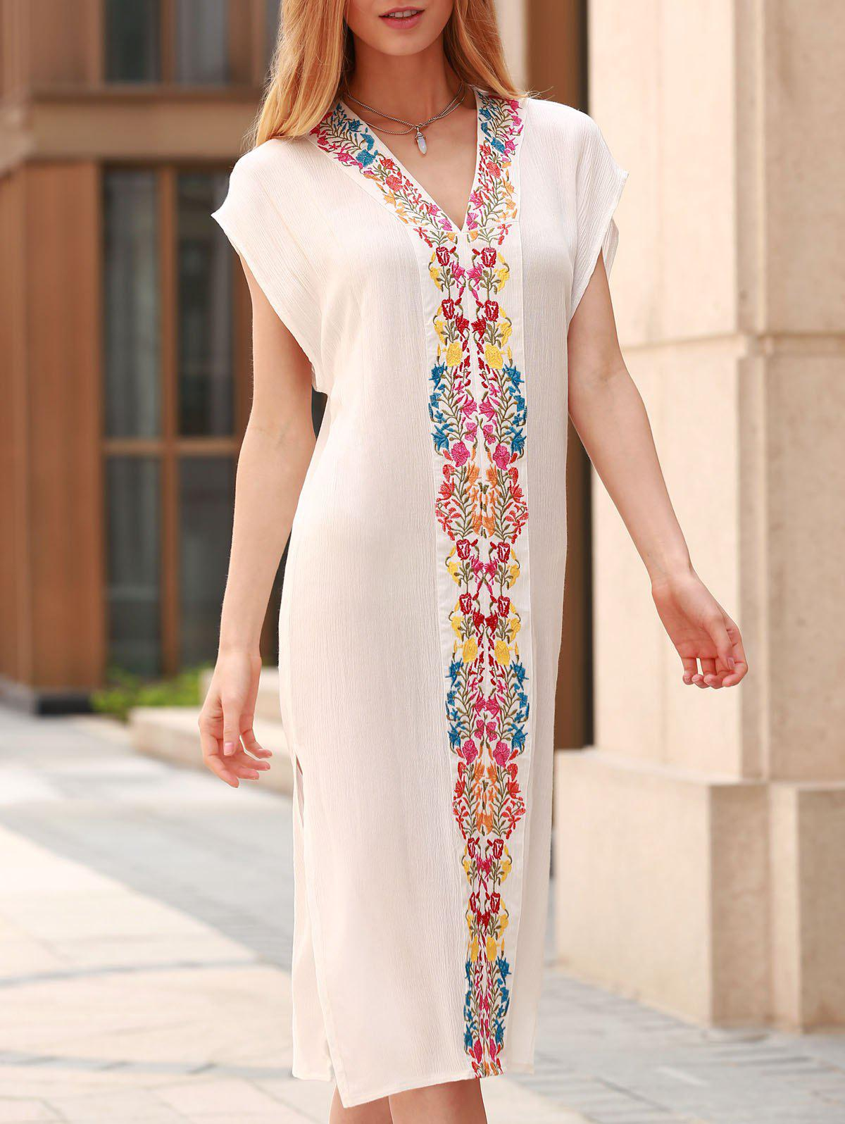 Bohemian V-Neck Short Sleeve Embroidered High Slit Women's Dress - WHITE S