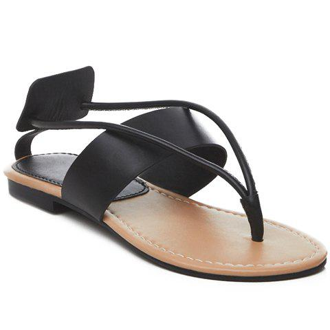 Leisure Flip Flop and Flat Heel Design Women's Sandals - BLACK 35