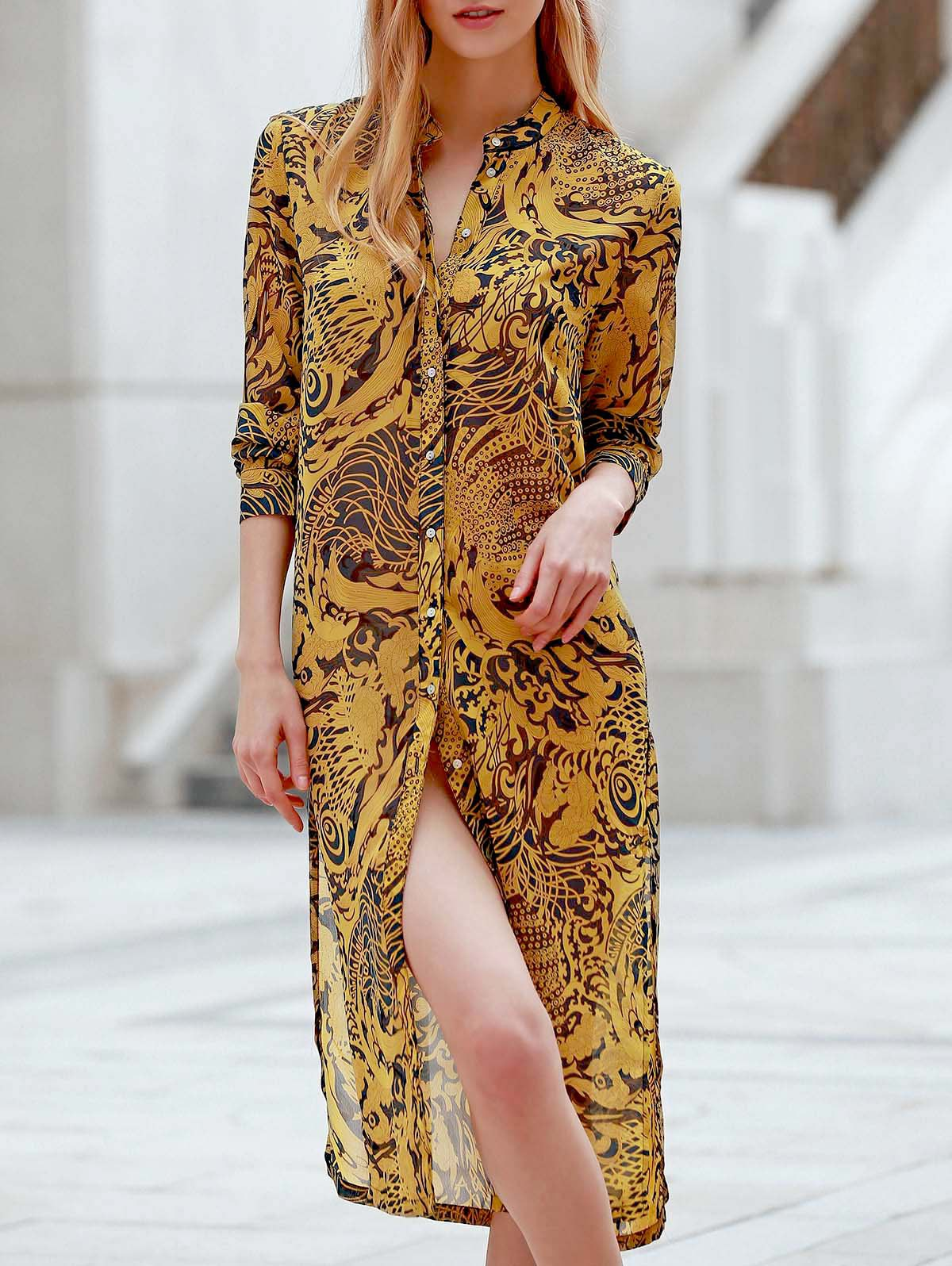 Vintage Style Stand-Up Collar Long Sleeve Printed Slit Women's Shirt Dress - BLUISH YELLOW L