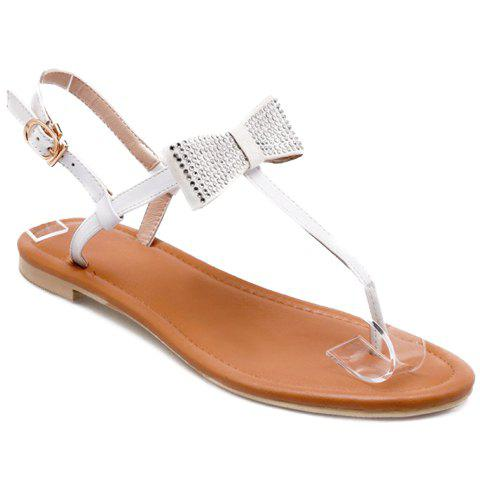 Sweet Rhinestone and Bowknot Design Women's Sandals - WHITE 36