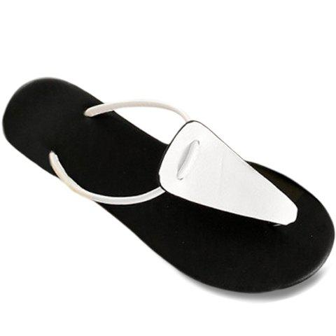 Leisure Flat Heel and Flip Flop Design Women's Slippers - WHITE 37