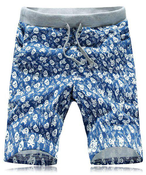 Casual Straight Leg Skulls Print Lace-Up Thin Shorts For Men - BLUE 3XL