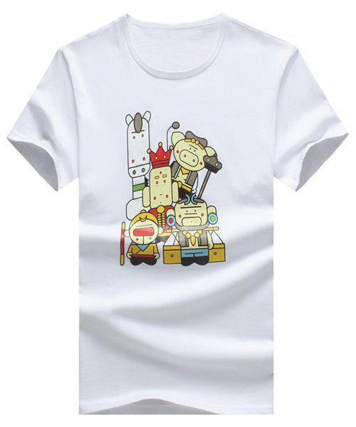 Cartoon Printed Round Neck Short Sleeve Men's T-Shirt