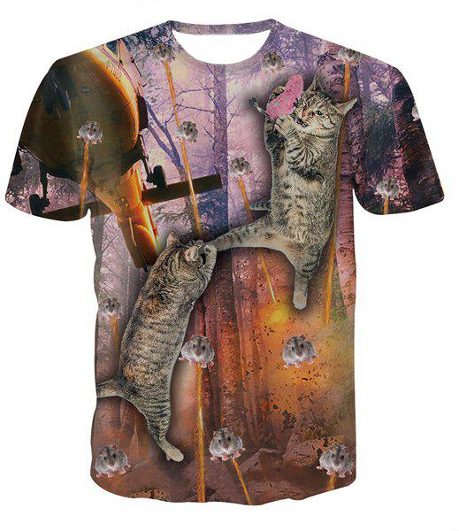 Fashion Round Collar Pullover Mouse Cat Printed T-Shirt For Men - COLORMIX S