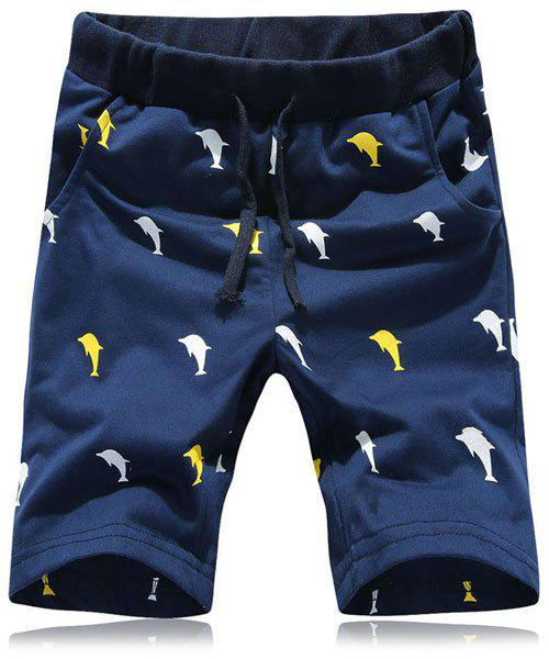 Funny Cartoon Dolphin Print Straight Leg Lace-Up Shorts For Men - CADETBLUE M