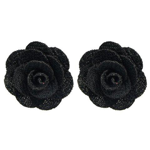 Pair of Alloy Blossom Stud Earrings - BLACK