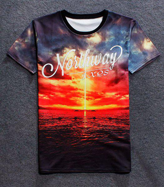 Fashion Round Collar Pullover Sunset Printed T-Shirt For Men - COLORMIX M
