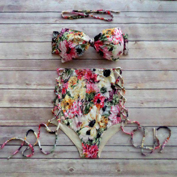 Trendy Halter Floral Print High Waist Bikini Suit For Women