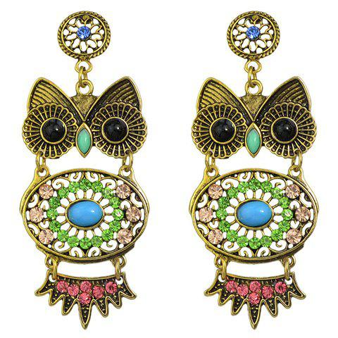 Pair of Faux Turquoise Rhinestone Owl Earrings - GREEN