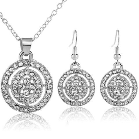 A Suit of Trendy Rhinestoned Round Necklace and Earrings For Women - SILVER