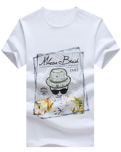 Cartoon Figure and Letters Printed Round Neck Short Sleeve Men's T-Shirt - L WHITE
