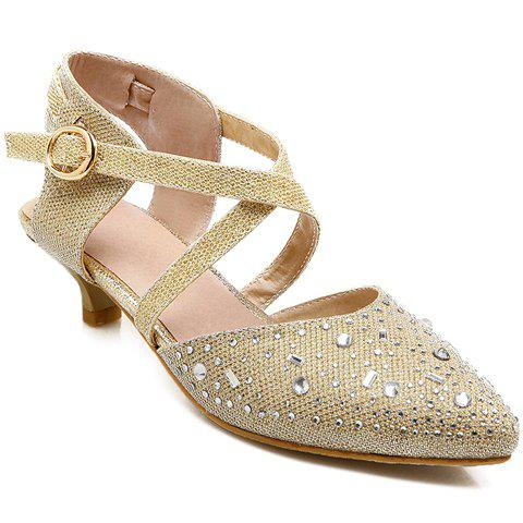 Sweet Cross-Strap and Pointed Toe Design Pumps For Women - GOLDEN 36