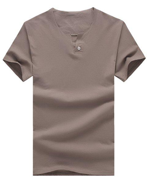 Solid Color V-Neck Button Embellished Short Sleeve Men's T-Shirt - KHAKI 5XL