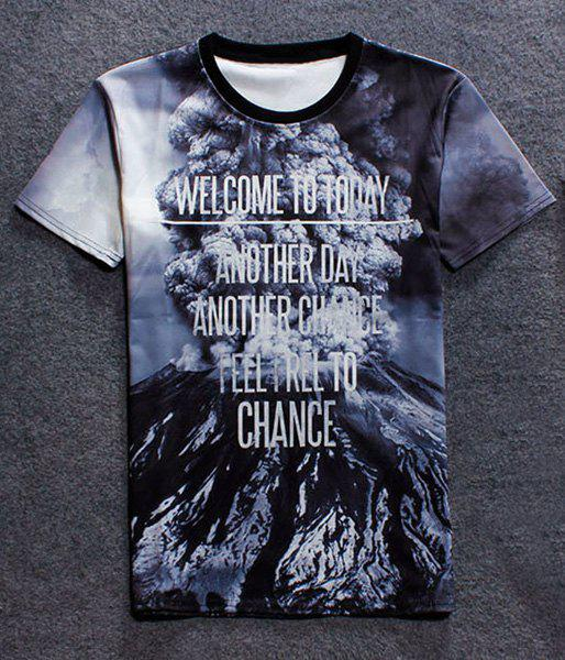 Pullover Fashion Round Collar Volcanic Eruption Printed T-Shirt For Men