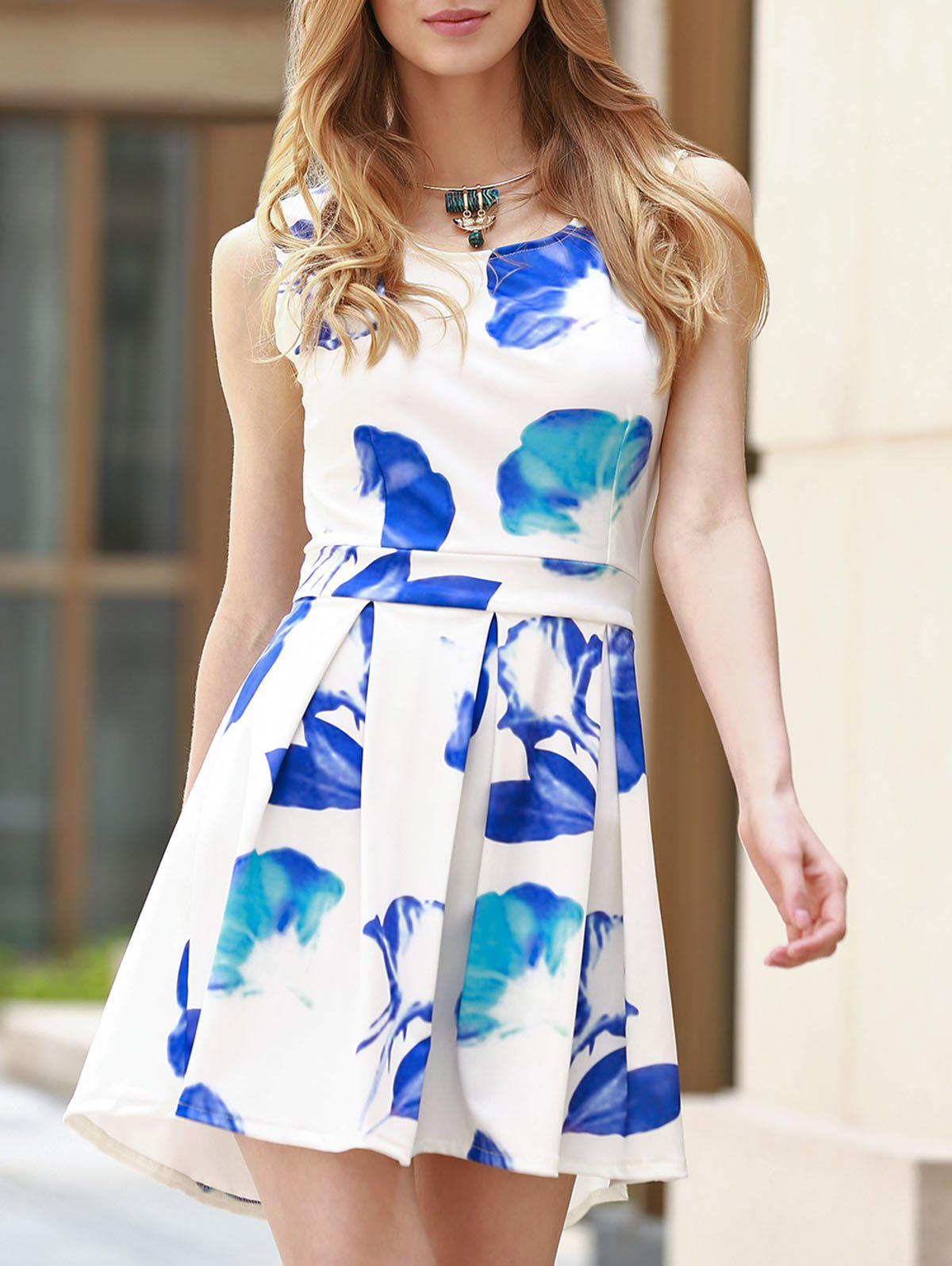 Trendy Sleeveless Scoop Neck Hollow Out Floral Print Women's Dress - BLUE/WHITE S