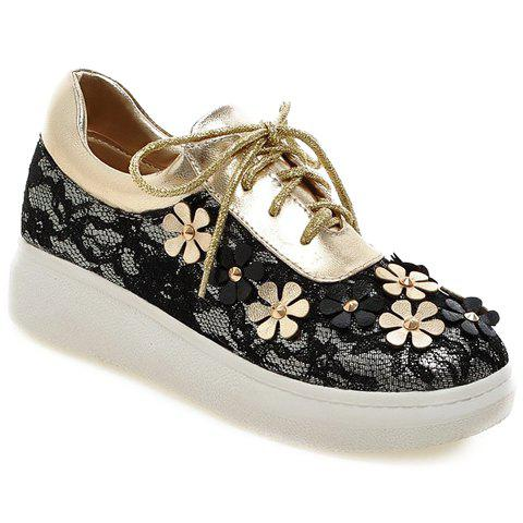 Casual Flowers and Lace-Up Design Platform Shoes For WomenShoes<br><br><br>Size: 38<br>Color: GOLDEN