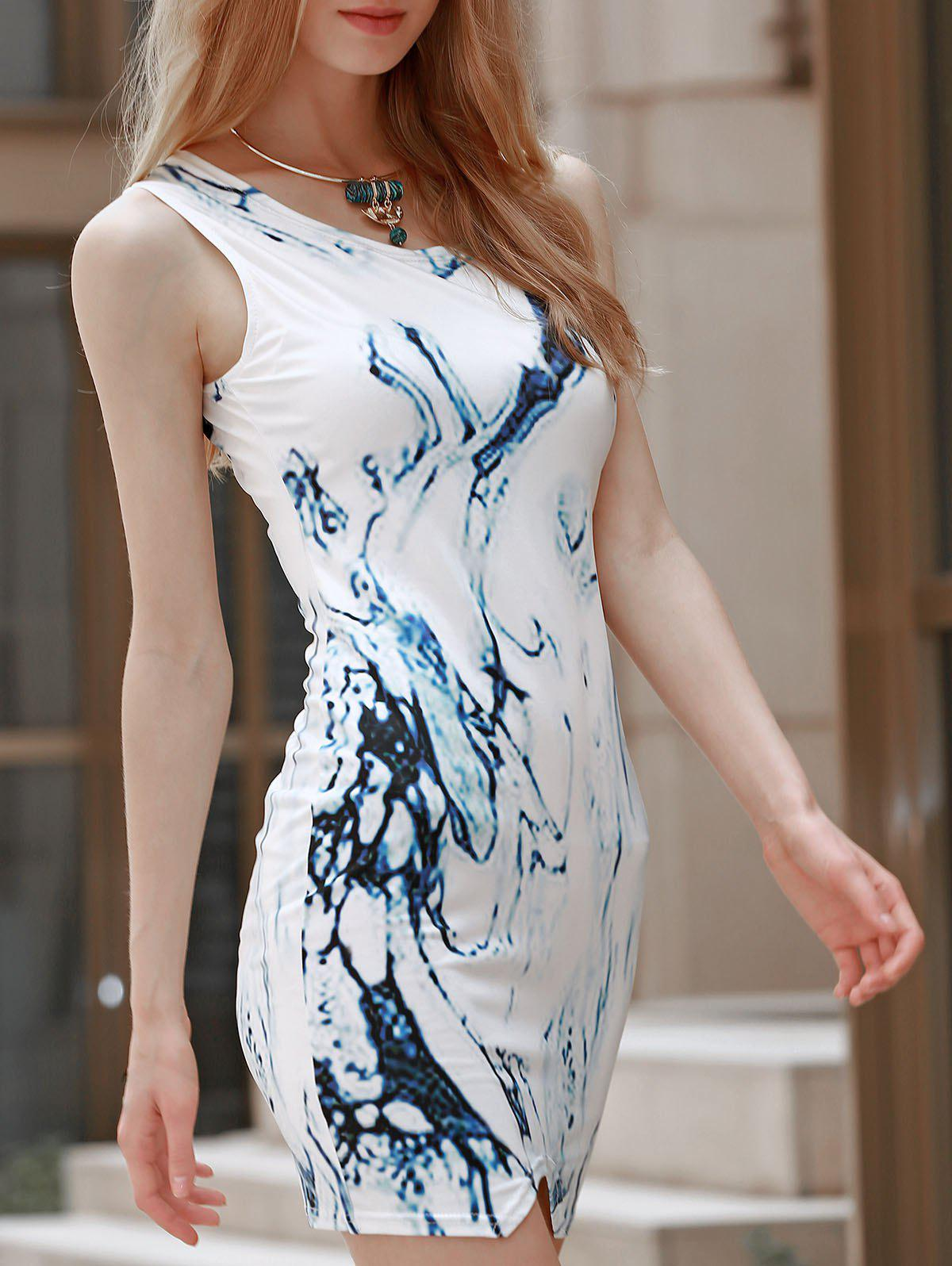 Sexy Round Neck Sleeveless Printed Asymmetrical Women's Dress - COLORMIX S