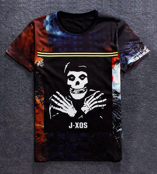 Pullover Fashion Round Collar Skull Printed T-Shirt For Men - COLORMIX M