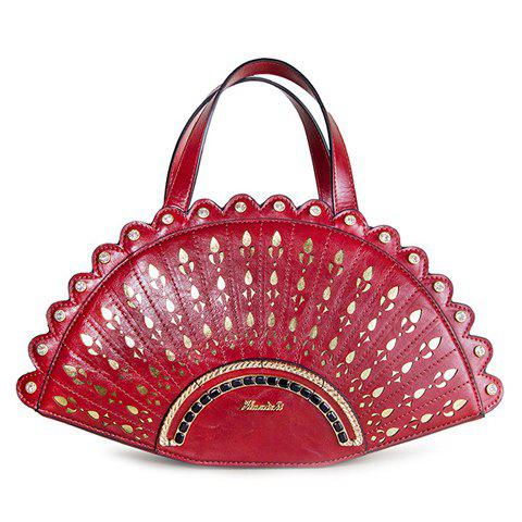 Gorgeous Chinese Fan Shape and Rhinestone Design Women's Tote Bag - DEEP RED