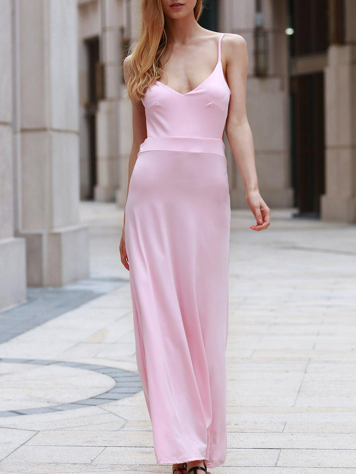 Sexy Spaghetti Strap Sleeveless Backless Solid Color Women's Maxi Dress - PINK S
