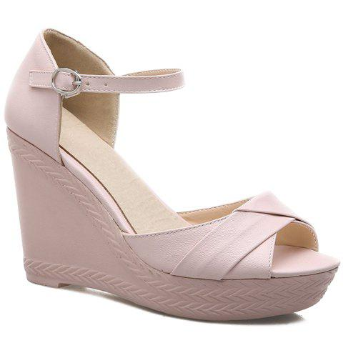 Casual Wedge Heel and PU Leather Design Sandals For Women - PINK 39