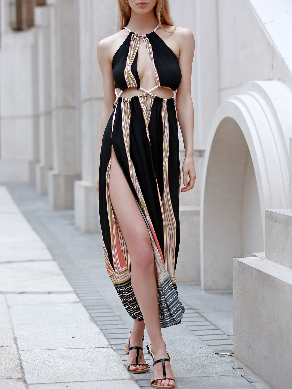 Sexy Sleeveless Backless Colored Hollow Out Rope Design Women's Maxi Dress navy backless design stripe sleeveless middle waisted active tracksuit