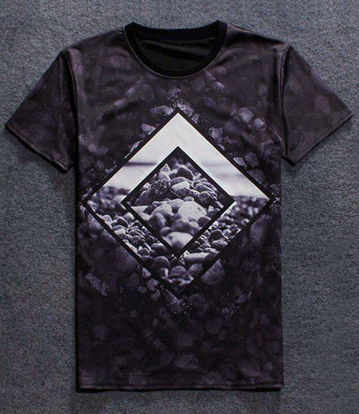 Pullover Fashion Round Collar Stone Printing T-Shirt For Men