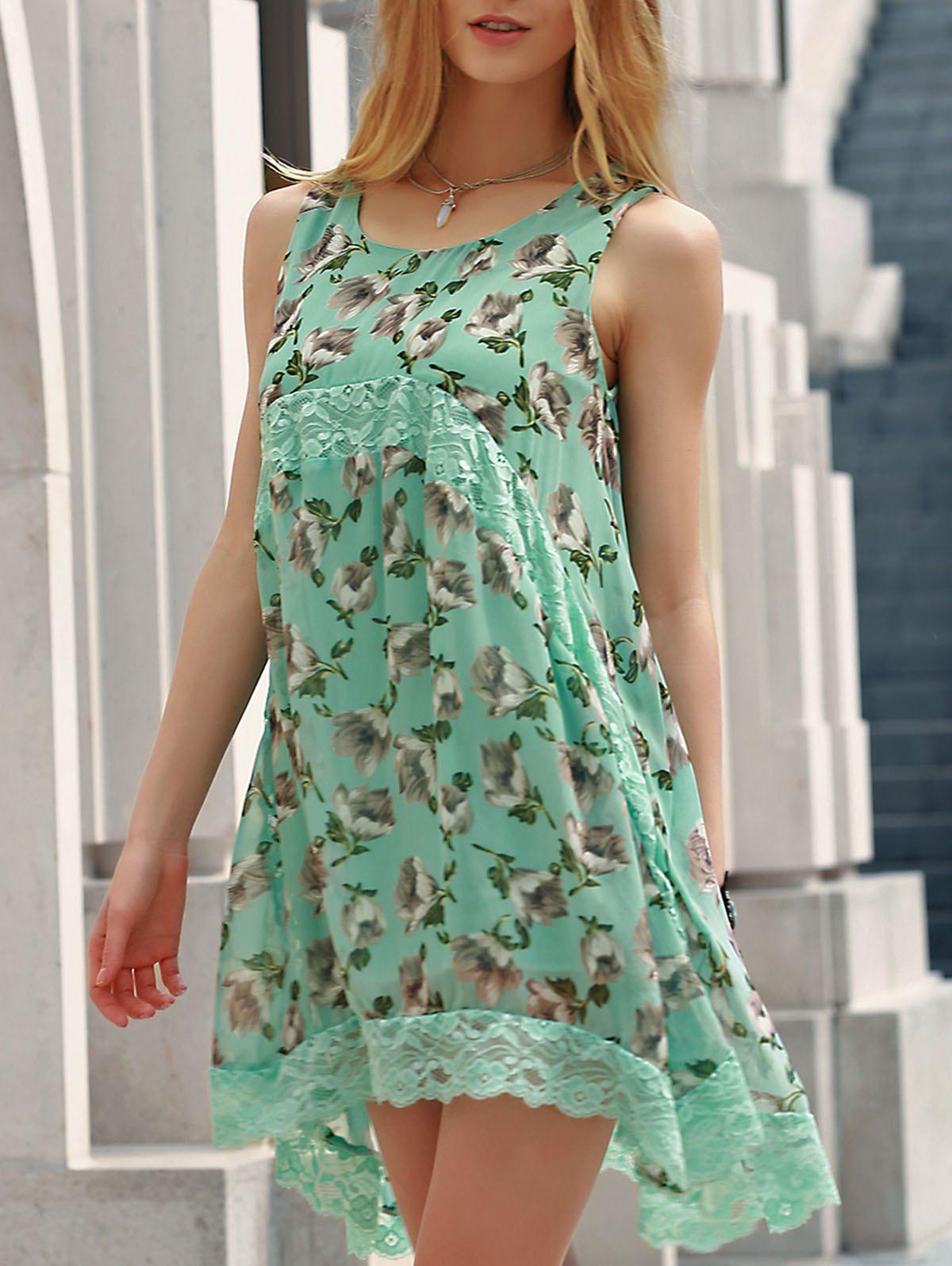 Country Style Scoop Collar Sleeveless Floral Print Women's Mini Sun Dress