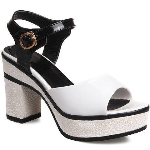 Casual Color Block and Chunky Heeled Design Sandals For Women - WHITE/BLACK 34