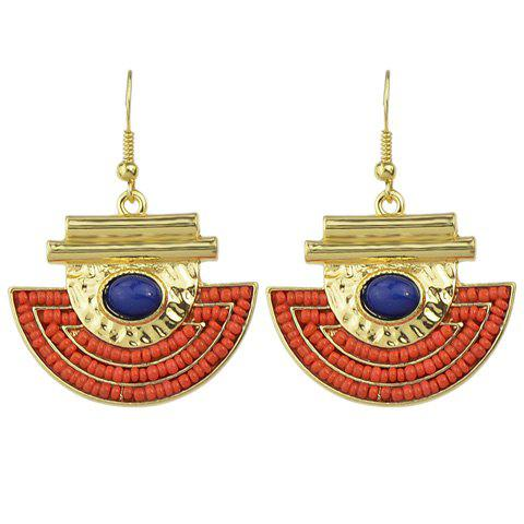 Pair of Cute Half-Circle Beads Earrings For Women - GOLDEN