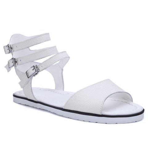 Casual Buckles and Flat Heel Design Women's Sandals - WHITE 34