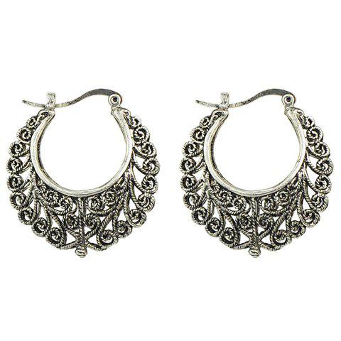 Pair of Chic Moon Hollow Out Earrings For Women