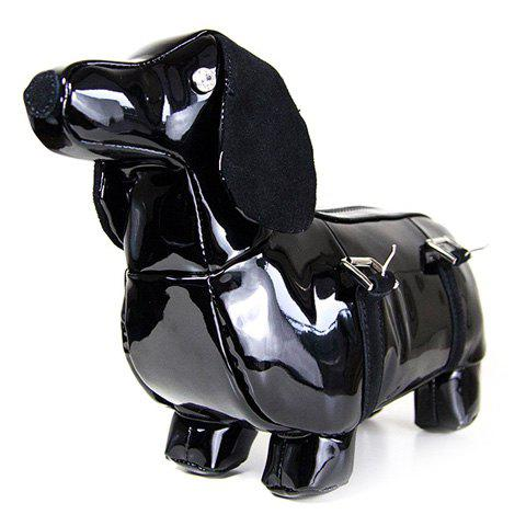 Novelty Puppy Shape and Patent Leather Design Women's Tote Bag - BLACK