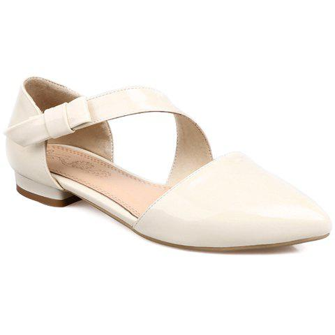 Fresh Style Patent Leather and Solid Color Design Flat Shoes For Women - OFF WHITE 39