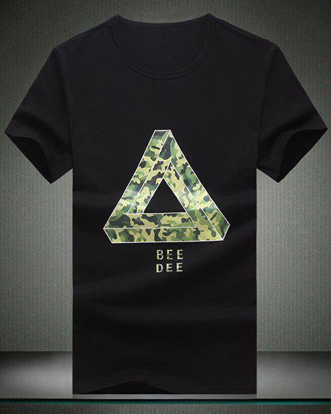 Round Neck Camo Printed Triangle Pattern Short Sleeve Men's T-Shirt - BLACK M