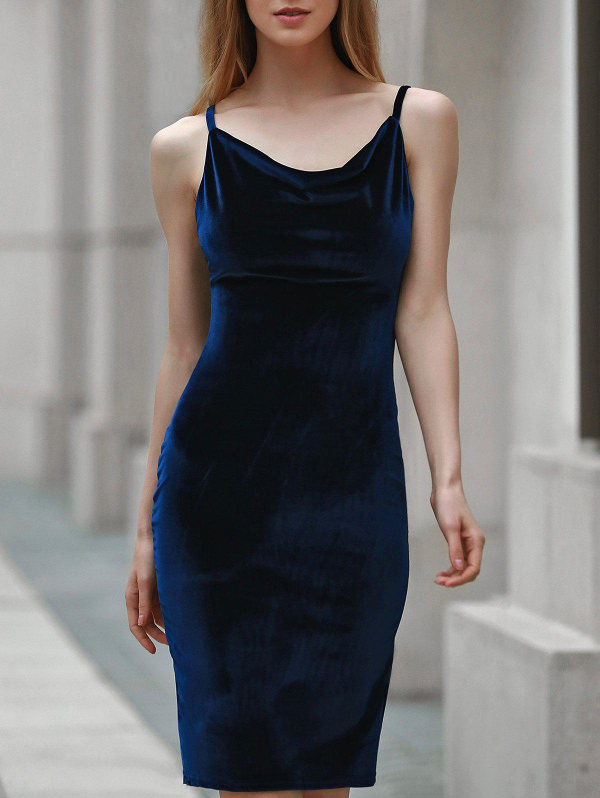 Trendy Solid Color Spaghetti Strap Backless Sleeveless Dress For Women